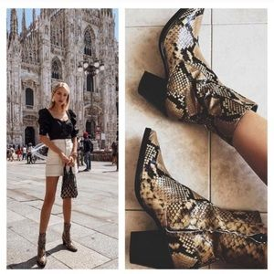 Zara Snake Print Leather Booties Size 38 7.5 NWT
